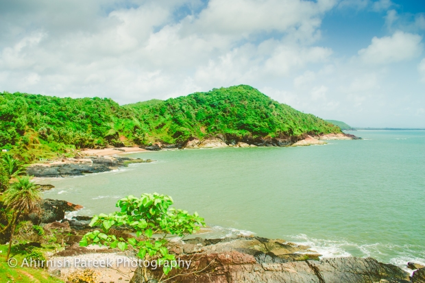 Paradise beach in Gokarna from the top.